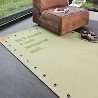Hand-woven Pepper Friends Green Cotton Area Rug - 5' x 8'
