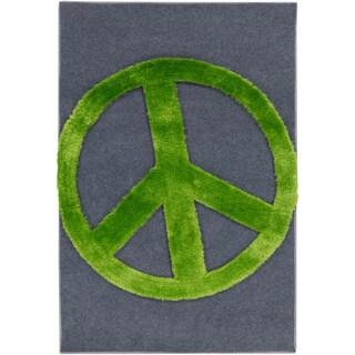 Pepper Hand-woven Peace Sign Shag Area Rug - 4' x 6'