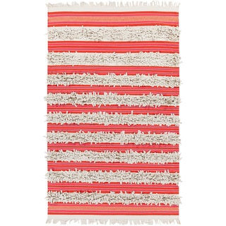 Pepper Hand-woven Feather Stripes Area Rug - 4' x 6' (4' x 6' - Beige/Pink)