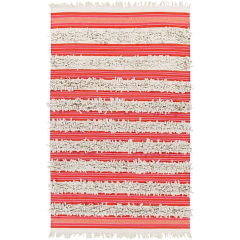 Pepper Hand-woven Feather Stripes Area Rug - 4' x 6'