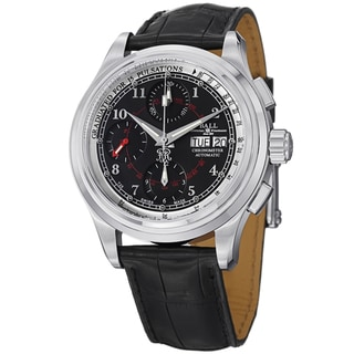 Ball Men's CM1010D-LCJ-BK 'Trainmaster Pulse meter' Black Dial Black Leather Strap Watch