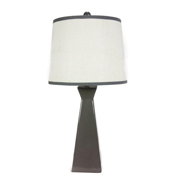 Somette Grey Ceramic Burlap Shade Table Lamp