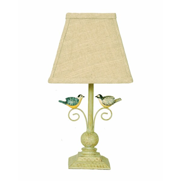 Somette Lovebird 12-inch Beige Linen Shade Accent Lamp