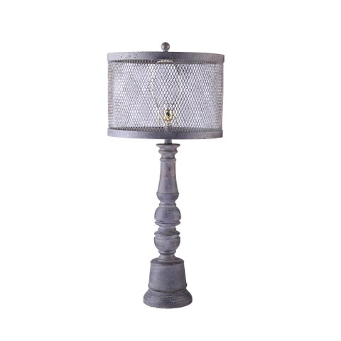 Somette Industrial Chic Lamp with Metal Mesh Shade
