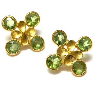 Gold Vermeil-plated Sterling Silver Peridot Textured Earrings