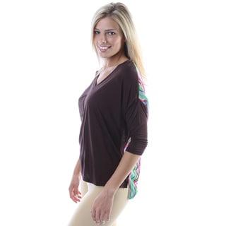 24/7 Comfort Apparel Women's Print Solid 3/4-sleeve Top