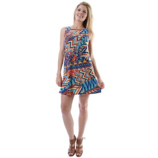 24/7 Comfort Apparel Women's Multicolor Print Sleeveless Tank Short Dress