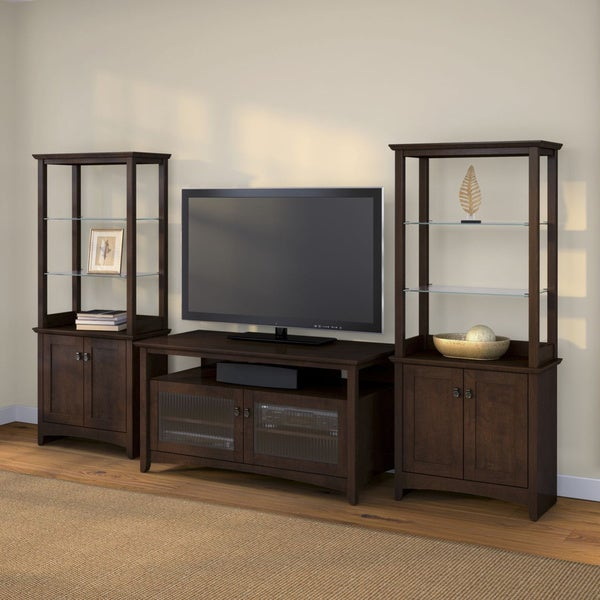 buena vista madison cherry tv stand with 2 tall library storage cabinets