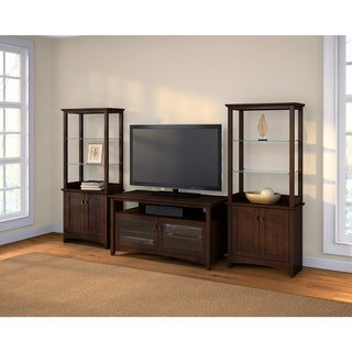 Buena Vista TV Stand with Set of 2 Tall Storage Cabinets in Cherry