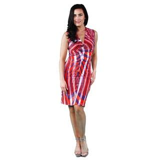 24/7 Comfort Apparel Women's Multicolor Print Sleeveless Tank Knee-length Dress