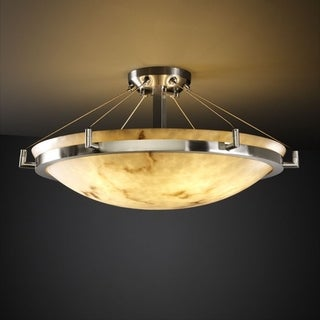 Justice Design Group LumenAria Ring 6-light Brushed Nickel Round Bowl Semi-flush, Faux Alabaster Shade