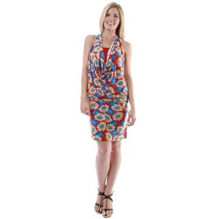 24/7 Comfort Apparel Women's Multicolor Print Knee-length Halter Dress