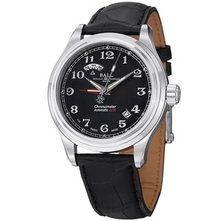 Ball Men's GM1020D-LCJ-BK 'Trainmaster Cleveland Express' Black Dial Black Leather Strap Dual Time W