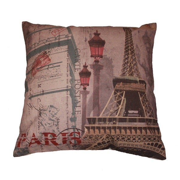 paris carte postale decorative throw pillow free shipping on orders over 45. Black Bedroom Furniture Sets. Home Design Ideas