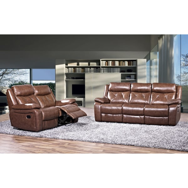 Rivallo Brown 2 Piece Top Grain Leather Reclining Sofa And