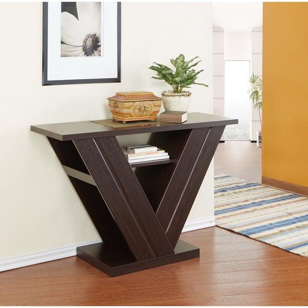 Furniture of america v shape espresso sofa table free for Vs furniture america