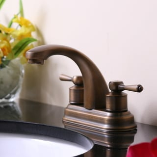 Antique Brass Finish 4-inch Centerset Faucet with Elongated Spout