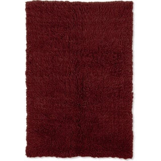 Linon Flokati Heavy Burgundy Rug (2' x 5')