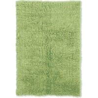 Linon Flokati Heavy Lime Green Rug (2' x 5')