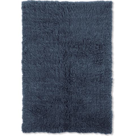 Linon Flokati Heavy Denim Blue Rug (2' x 8') - 2' x 8'