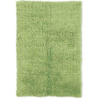 Linon Flokati Heavy Lime Green Rug (2' x 8')
