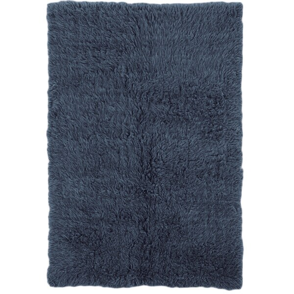 Linon Flokati Heavy Denim Blue Rug (4' x 6') - 4' x 6'