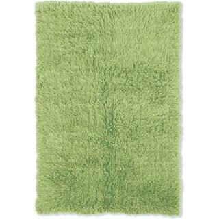 Linon Flokati Heavy Lime Green Rug (4' x 6')