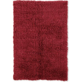 Linon Flokati Heavy Red Rug (5' x 8')
