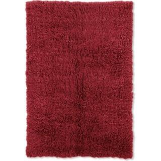 Linon Flokati Heavy Red Rug (5' x 8')