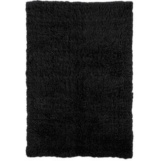 Linon Flokati Super Heavy Black Rug (3' x 5') - 3' x 5'