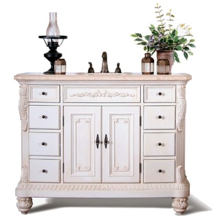 Traditional Style Marble Top 48 inch Single Sink Bathroom Vanity