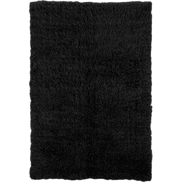 Linon Flokati Super Heavy Black Rug (4' x 6') - 4' x 6'