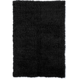 Linon Flokati Super Heavy Black Rug (5' x 7') - 5' x 7'