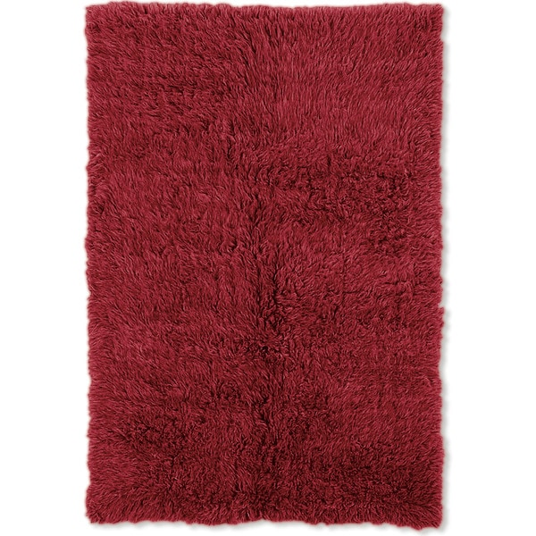 Linon Flokati Super Heavy Red Rug (5' x 7') - 5' x 7'