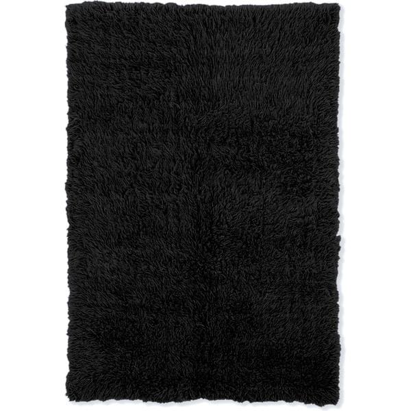 Linon Flokati Super Heavy Black Rug (6' x 9') - 6' x 9'