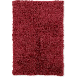 Linon Flokati Super Heavy Red Rug (6' x 9') - 6' x 9'