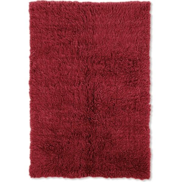 Linon Flokati Super Heavy Red Rug (6' x 9') - 6' x 9'