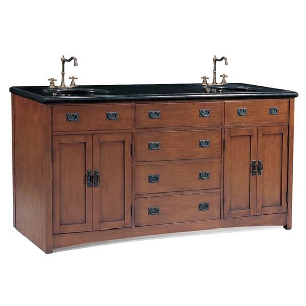 Medium Pecan Double Sink Bathroom