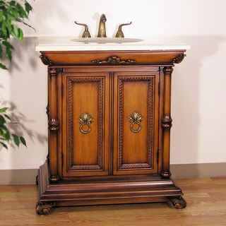 Traditional 32-inch Medium Pecan Single Sink Bathroom Vanity