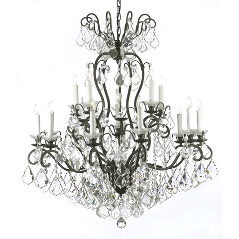 Gallery Versailles Wrought Iron and Crystal 16 Light Chandelier Black