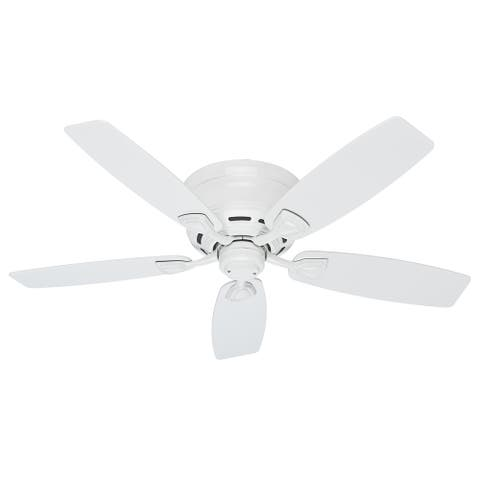 "Hunter 48"" Sea Wind Outdoor Low Profile Ceiling Fan with Pull Chain, Damp Rated - Fresh White"