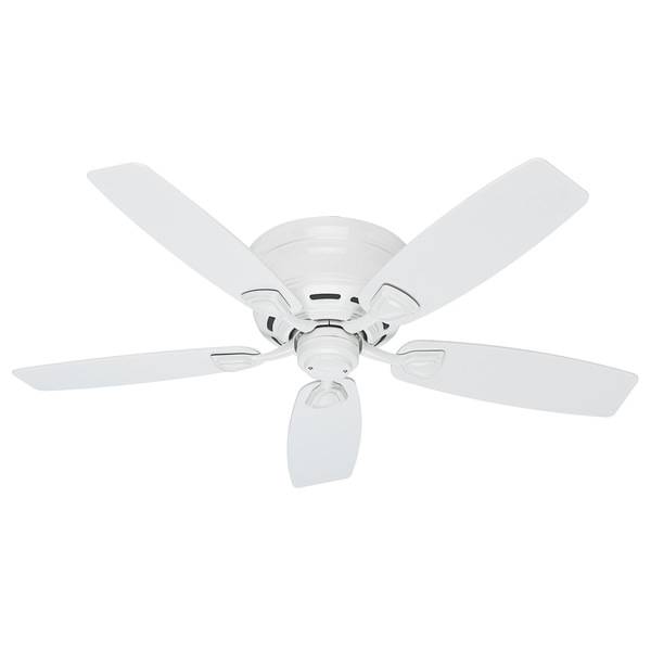 """Hunter 48"""" Sea Wind Outdoor Low Profile Ceiling Fan with Pull Chain, Damp Rated - Fresh White. Opens flyout."""