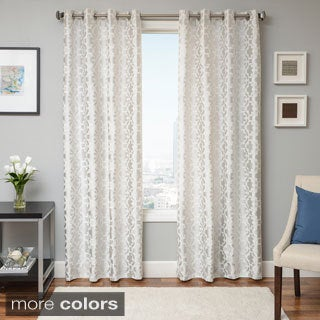 Softline Peyton Tile Woven Jacquard Grommet Top Curtain Panel
