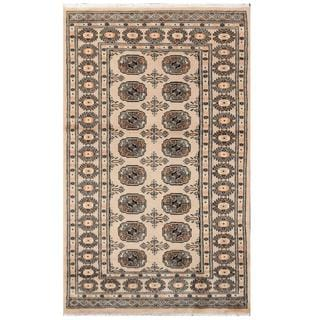 Herat Oriental Pakistani Hand-knotted Tribal Bokhara Tan/ Black Wool Rug (3'1 x 5'2)