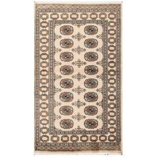 Herat Oriental Pakistani Hand-knotted Tribal Bokhara Tan/ Black Wool Rug (3'1 x 5'3)
