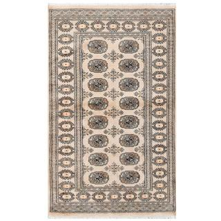 Herat Oriental Pakistani Hand-knotted Tribal Bokhara Tan/ Black Wool Rug (3'2 x 5'2)
