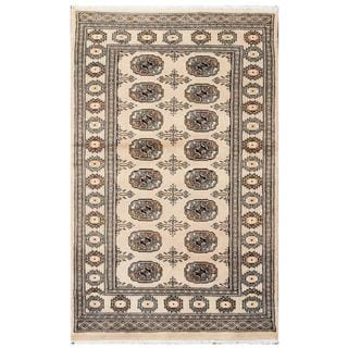 Herat Oriental Pakistani Hand-knotted Tribal Bokhara Tan/ Black Wool Rug (3'1 x 4'10)