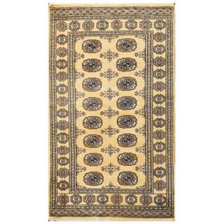 Herat Oriental Pakistani Hand-knotted Tribal Bokhara Tan/ Black Wool Rug (3'1 x 5'4)