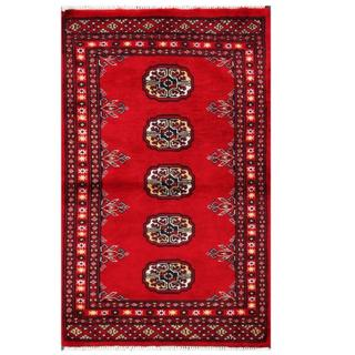 Herat Oriental Pakistani Hand-knotted Tribal Bokhara Red/ Grey Wool Rug (2' x 3'1)