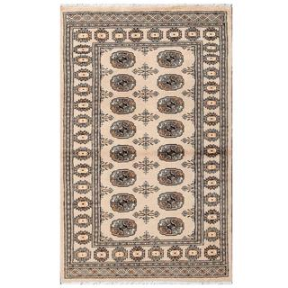 Herat Oriental Pakistani Hand-knotted Tribal Bokhara Tan/ Black Wool Rug (3'1 x 5')